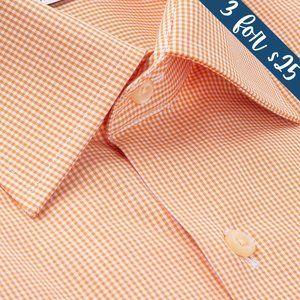 3/$25 Paul Fredrick Melon Gingham Dress Shirt